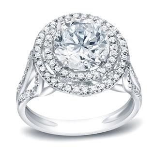 Auriya Platinum 1 3/4ct TDW Certified Round Cut Diamond Halo Engagement Ring (H-I, I1-I2)