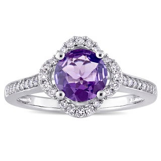 Miadora Signature Collection 14k White Gold Amethyst and 1/4ct TDW Diamond Quatrefoil Halo Ring