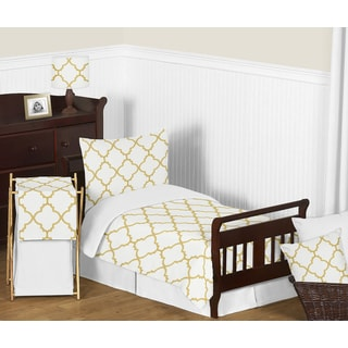 Sweet Jojo Designs White and Gold Trellis Comforter Set
