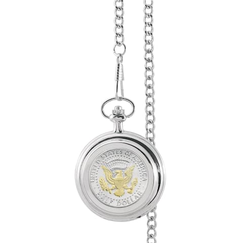 Smithsonian Institution Selectively Gold-Layered Presidential Seal Half Dollar Pocket Watch - Silver