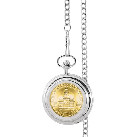 Smithsonian Institution Gold-Layered JFK Bicentennial Half Dollar Pocket Watch - Silver