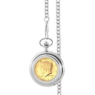 Smithsonian Institution Gold-Layered JFK 1964 First Year of Issue Half Dollar Pocket Watch