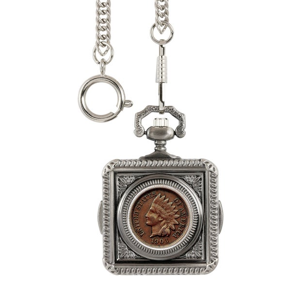 Smithsonian Institution Indian Penny Pocket Watch - Silver. Opens flyout.