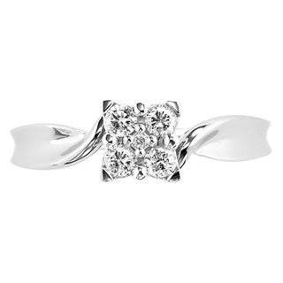 Cambridge 10k White Gold 1/ 5ct TDW Diamond Cluster Twist Engagement Ring