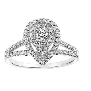 Cambridge 10k White Gold 1/ 2ct TDW Diamond Double Halo Pear Engagement Ring