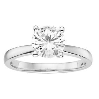 Charles & Colvard 14k White Gold 1 1/2ct DEW Round Forever Brilliant Moissanite Solitaire Ring