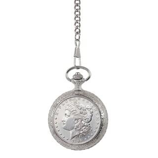 Smithsonian Institution Brilliant Uncirculated 1800's Morgan Silver Dollar Pocket Watch