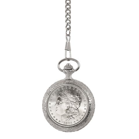 Smithsonian Institution Men's Brilliant Uncirculated 1800's Carson City (CC) Mint Morgan Silver Dollar Pocket Watch