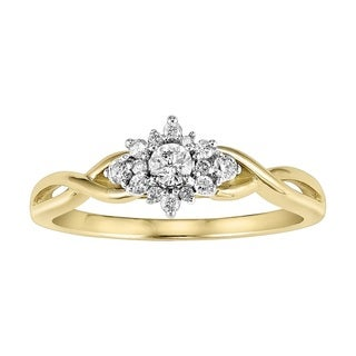Cambridge 10k Two-tone Gold 1/ 4ct TDW Diamond Burst Engagement Ring