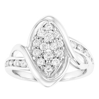 Cambridge 10k White Gold 3/ 4ct TDW Diamond Cluster Marquise Engagement Ring