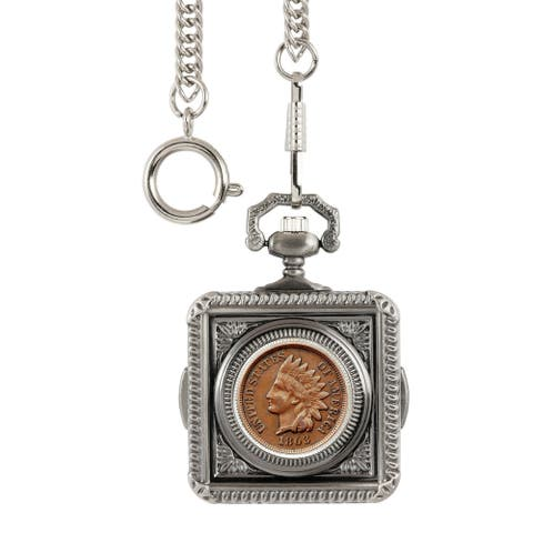 Smithsonian Institution Civil War Indian Head Penny Pocket Watch - Silver