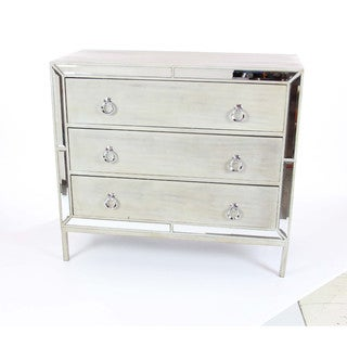 Swanky Silvertone Wood-finished Mirrored Chest
