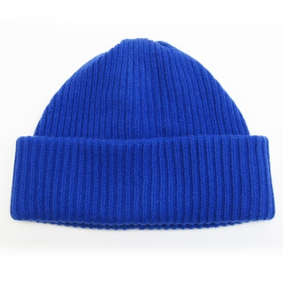 Portolano Cashmere Ribbed 4-ply Beanie Hat with Folded Cuff