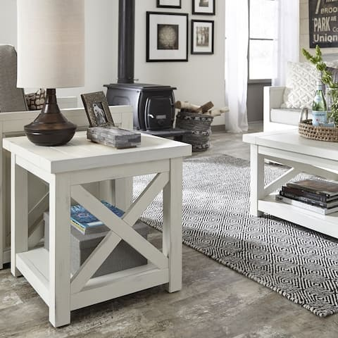 Seaside Lodge Traditional Off-White Wood End Table