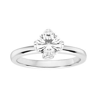 Charles & Colvard 14k White Gold 1ct DEW Round Forever Brilliant Moissanite Floral Solitaire Ring