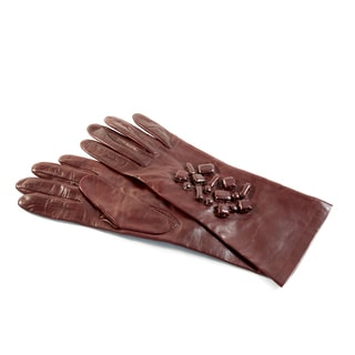 Portolano Women's Red Leather/ Cashmere Gloves With Stones