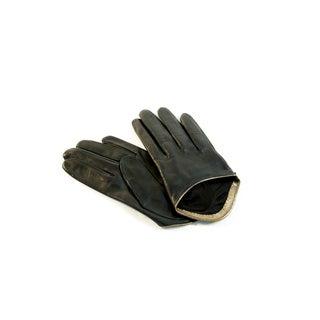 Portolano Women's Short Black Silk-lined Leather Gloves