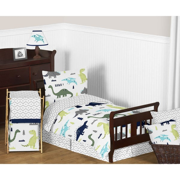 Sweet Jojo Designs Blue and Green Mod Dinosaur Comforter Set