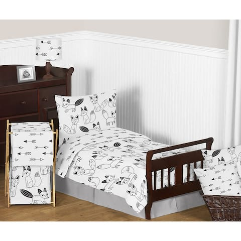Sweet Jojo Designs Black and White Fox Toddler Comforter Set