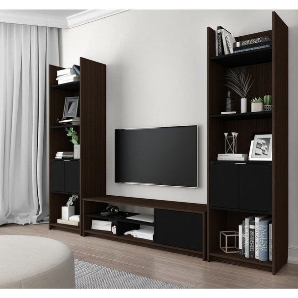 Bestar Small Space 3-Piece TV Stand and 2 Storage Towers Set ...