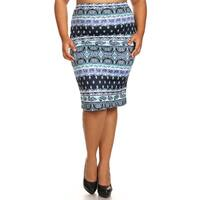 Women's Plus-size Panel Tapestry Pencil Skirt