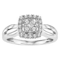 Cambridge 10k White Gold 1/ 4ct TDW Princess Diamond Square Halo Engagement Ring