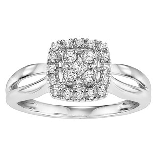 Cambridge 10k White Gold 1/ 4ct TDW Princess Diamond Square Halo Engagement Ring