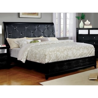 Furniture of America Lorrence Contemporary Tufted Crocodile Skin Leatherette Bed
