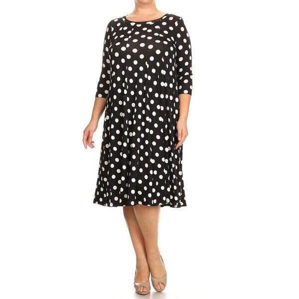 Women's Black Plus Size Polka Dot Dress