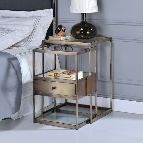 ACME Enca Antique Brass 2Pc Nesting Table Set