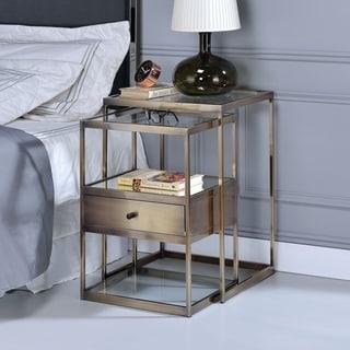ACME Enca Antique Brass 2Pc Nesting Table Set