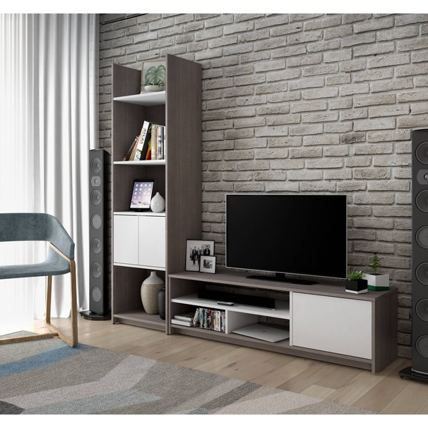 Bestar Small Space 2-Piece TV Stand and Storage Tower Set - Free ...