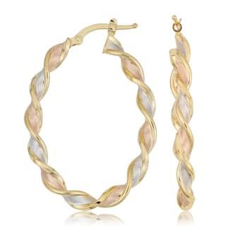 "Fremada Italian 14k Tricolor Gold Satin Twist Oval Hoop Earrings, 1.6""|https://ak1.ostkcdn.com/images/products/15209566/P21686494.jpg?impolicy=medium"