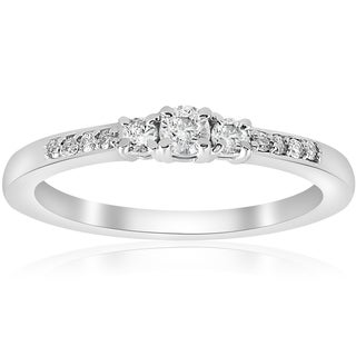 14K White Gold 1/4 ct TDW Diamond Three Stone Engagement Ring (J-K,I2-I3)