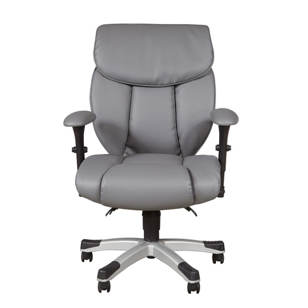 Sealy Grey Faux Leather Memory Foam Office Chair