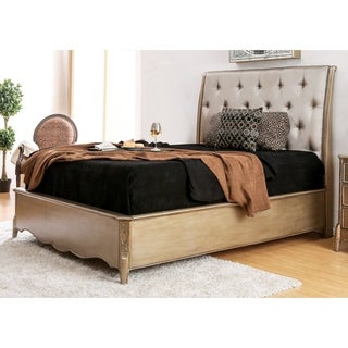 Furniture of America Kerasaw Contemporary Tufted Leatherette Brushed Gold Bed (2 options available)