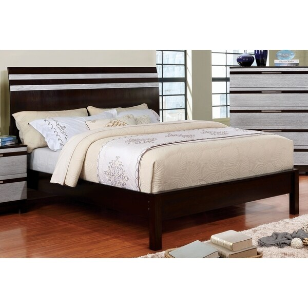 Furniture of America Cevi Contemporary Brown Solid Wood Platform Bed