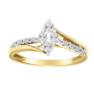 Cambridge 10k Two-tone Gold 1/3ct TDW Diamond Marquise-shaped Engagement Ring