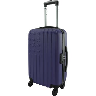 Lulu Castagnette Navy Embossed 20-inch Hardside Carry On Spinner Suitcase