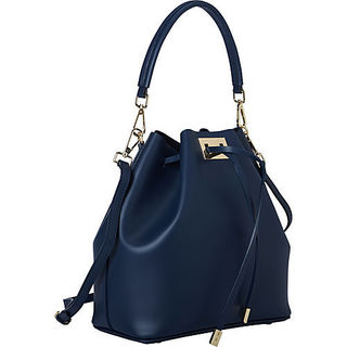 Sharo Deleite Navy Blue Leather Drawstring Satchel Handbag
