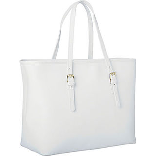 Sharo Deleite White Leather Tote Bag