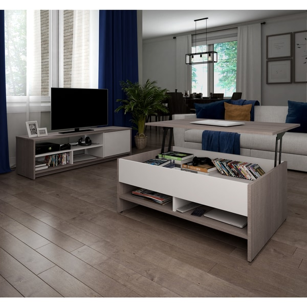 Small Coffee Tables That Lift Up: Bestar Small Space 2-Piece Lift-Top Storage Coffee Table