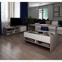 Bestar Small Space 2-Piece Lift-Top Storage Coffee Table and TV Stand Set