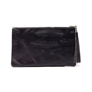Viva Bags Feather Embossed Distressed Leather Clutch