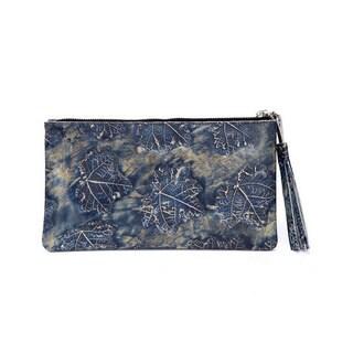 Viva Bags Italian Leather Metallic Leaf-embossed Clutch
