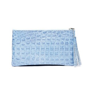 Viva Bags Sky Blue Embossed Leather Horn Croco Clutch