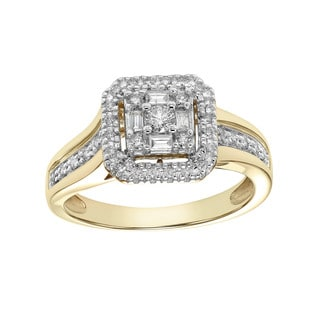 Cambridge Two-tone 10k Gold 1/3ct TDW Baguette and Round Diamond Engagement Ring