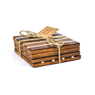 Wood Resin Coasters- Set of 4 pcs