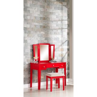 Candy Wood Vanity and Mirror Set (Option: Red)