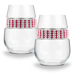"""Shimmering Wines by Stemware Designs """"Ruby"""" Stemless Wine Glasses (Set of 2)"""